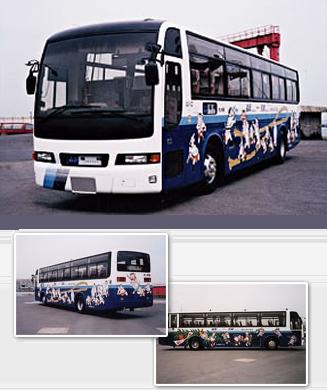 """선쿠스 30 버스·후쿠오카 """"하카타 든타쿠"""" """"하카타 산도롱"""" 디자인의 랩핑 버스"""