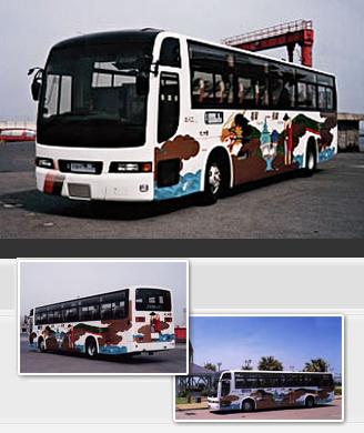 """선쿠스 30 버스·후쿠오카 """"용 춤(춤)"""" 디자인의 랩핑 버스"""